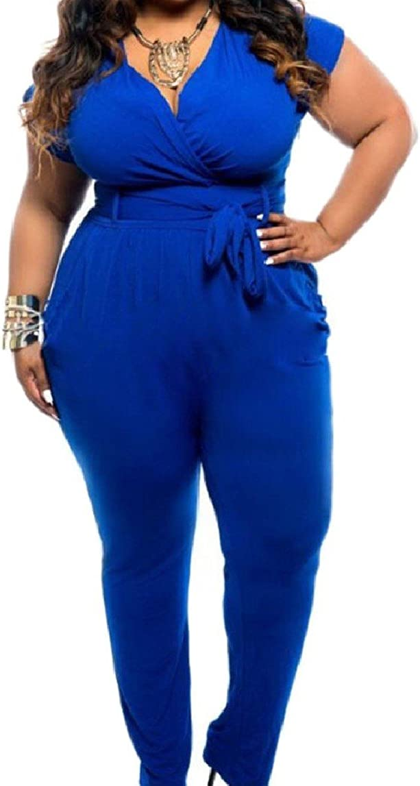 QueenHands Womens Plus-Size Novelty Solid-Colored Tunic Plunge V Neck Jumpsuit Romper