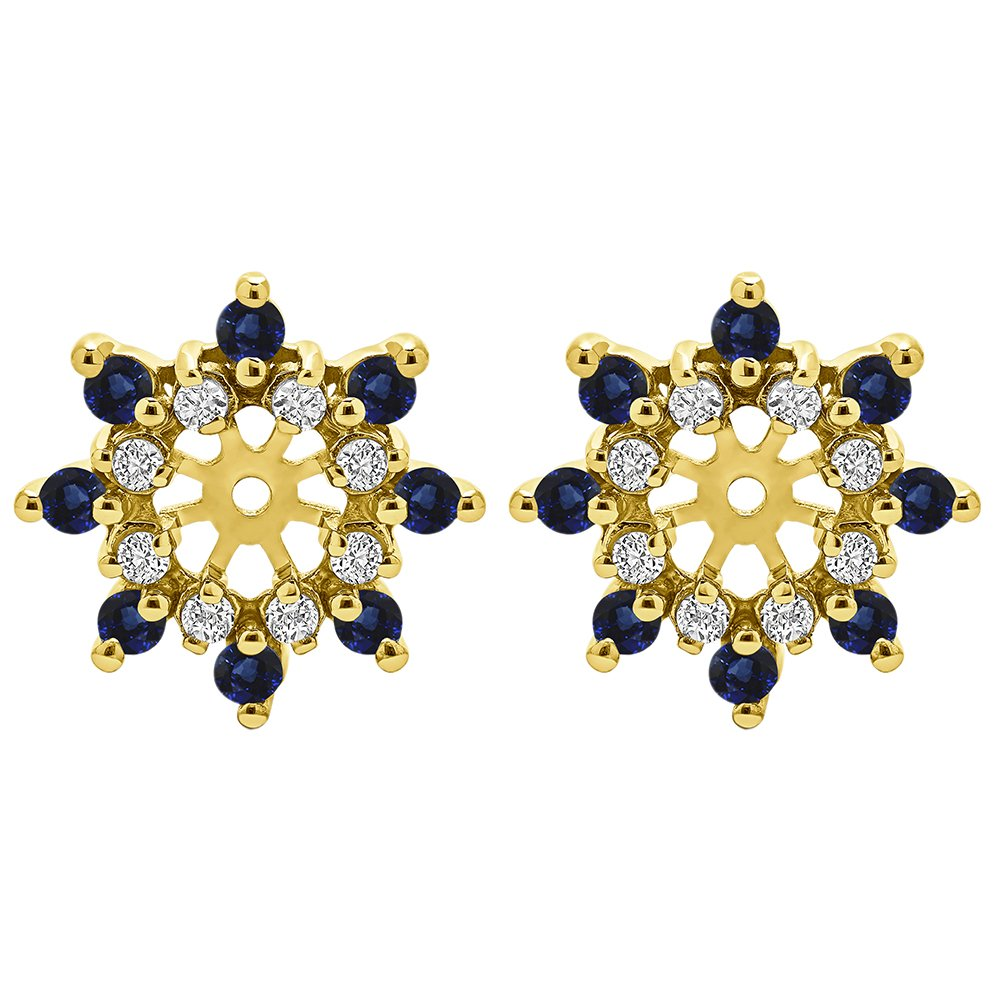 1/2 ct. Diamonds (G-H,I2-I3) and Sapphire Genuine Sapphire and Diamond Cluster Style Earring Jacket in 14k Yellow Gold (0.48 ct. twt.)