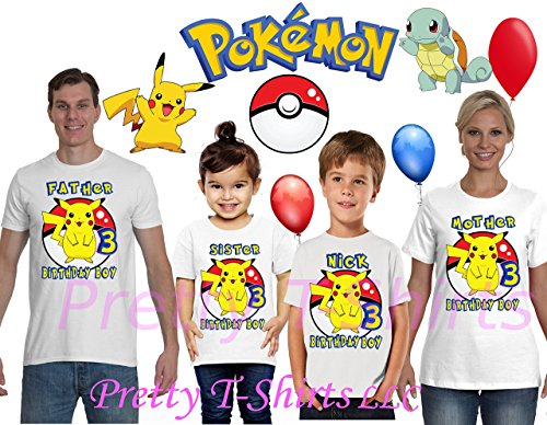 FREE SHIPPING, Pikachu Birthday Shirt, Add ANY name and ANY age, Pokemon Birthday Boy Shirt, FAMILY Birthday Shirt, Pokemon Birthday Shirts, Birthday Boy Pokemon, VISIT OUR SHOP!! by PrettyT-Shirts