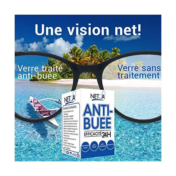 Netoa ® – Paquete de 120 toallitas antivaho para todo tipo de lentes, gafas graduadas, de sol, de natación, máscaras de buceo, prismáticos, ideales contra el vapor y el vaho 8