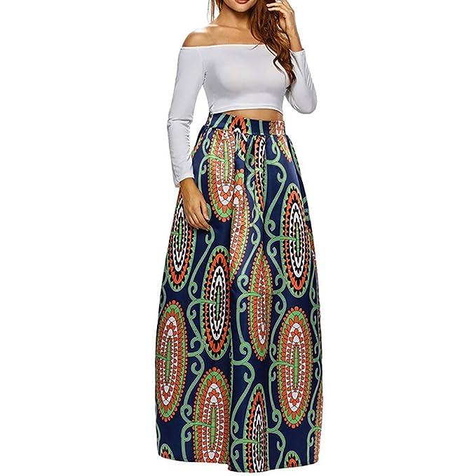 d1ce0b1f60 CLOCOLOR Falda Larga Plisada Encaje con Estampado Exótico Africano para  Mujer Talla Grande Casual Cintura Alta