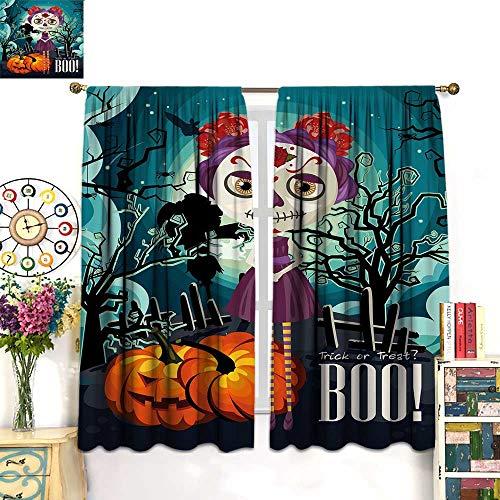 WinfreyDecor Halloween Drapes for Living Room Cartoon Girl with Sugar Skull Makeup Retro Seasonal Artwork Swirled Trees BooBlackout curtainMulticolor. W72 x L63