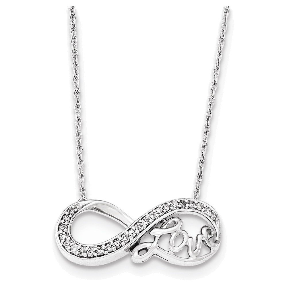 Infinity Symbol LOVE Necklace Sterling Silver Rhodium Diam