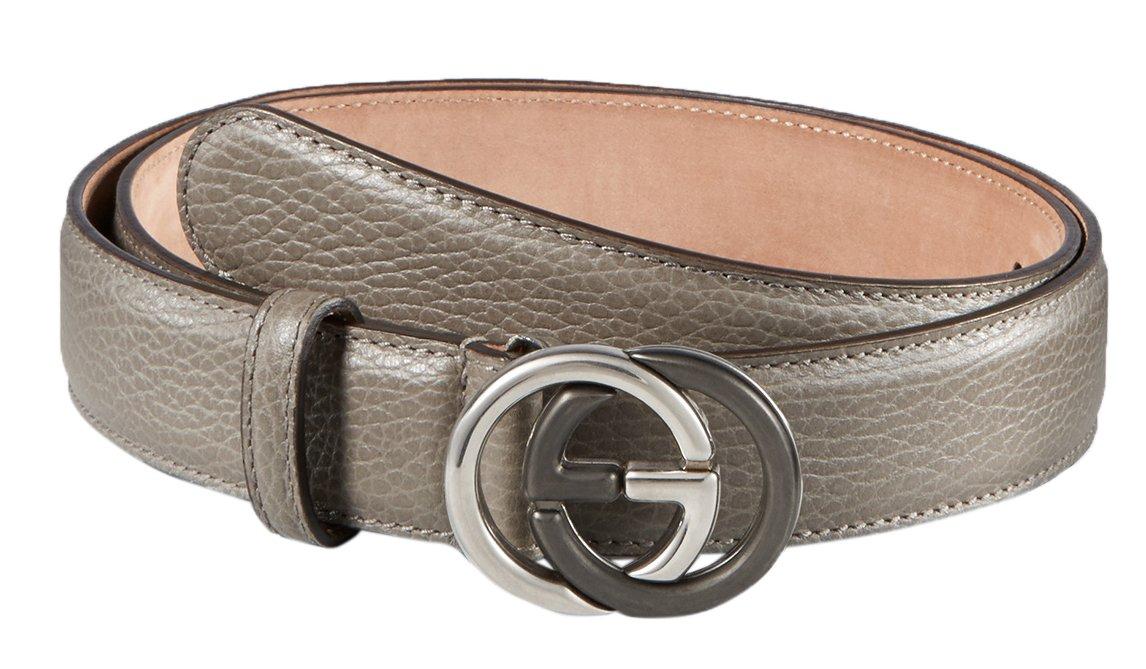 Gucci Grey Leather Bi-Color Interlocking GG Buckle Belt, 38, Gray