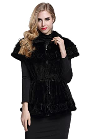 TOPFUR Womens Black Knitted Mink Fur Waistcoat Vest Gilet Decorated Ruffles With Zipper Closure XL
