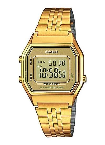 f97e8f9a816e Casio Reloj Mujer de Digital con Correa en Acero Inoxidable LA680WEGA-9ER   Amazon.es  Relojes