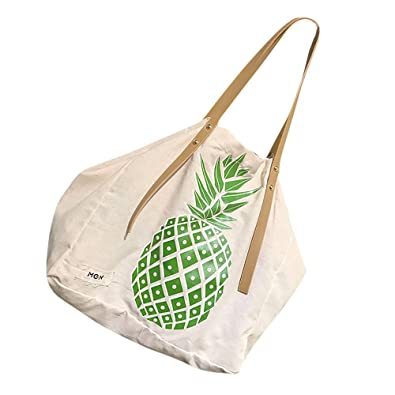 be042c063157 Image Unavailable. Image not available for. Color  Women Tote Bag New Fashion  Canvas Pineapple Print Women Handbag Ladies Shoulder ...