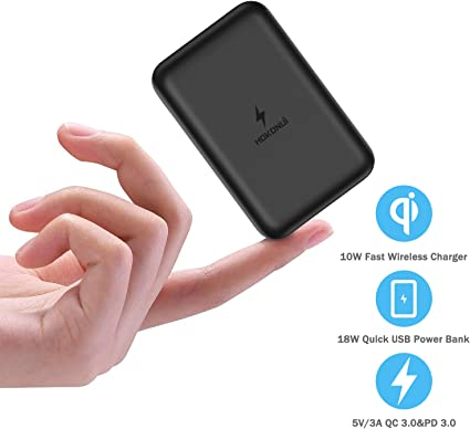 Wireless Portable Charger, Hokonui 10000mAh 10W Fast Qi Mini Wireless Power Bank with 18W PD3.0, USB-C, QC 3.0 Ports and LCD Display External Battery ...