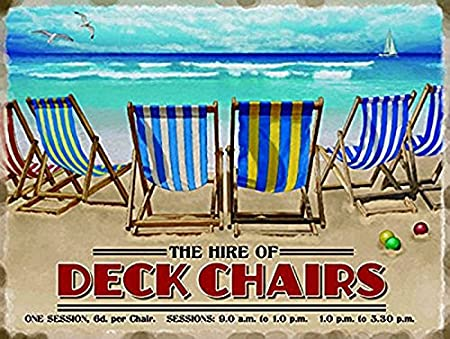 large deck chairs seaside holiday vintage retro metal tin wall rh amazon co uk