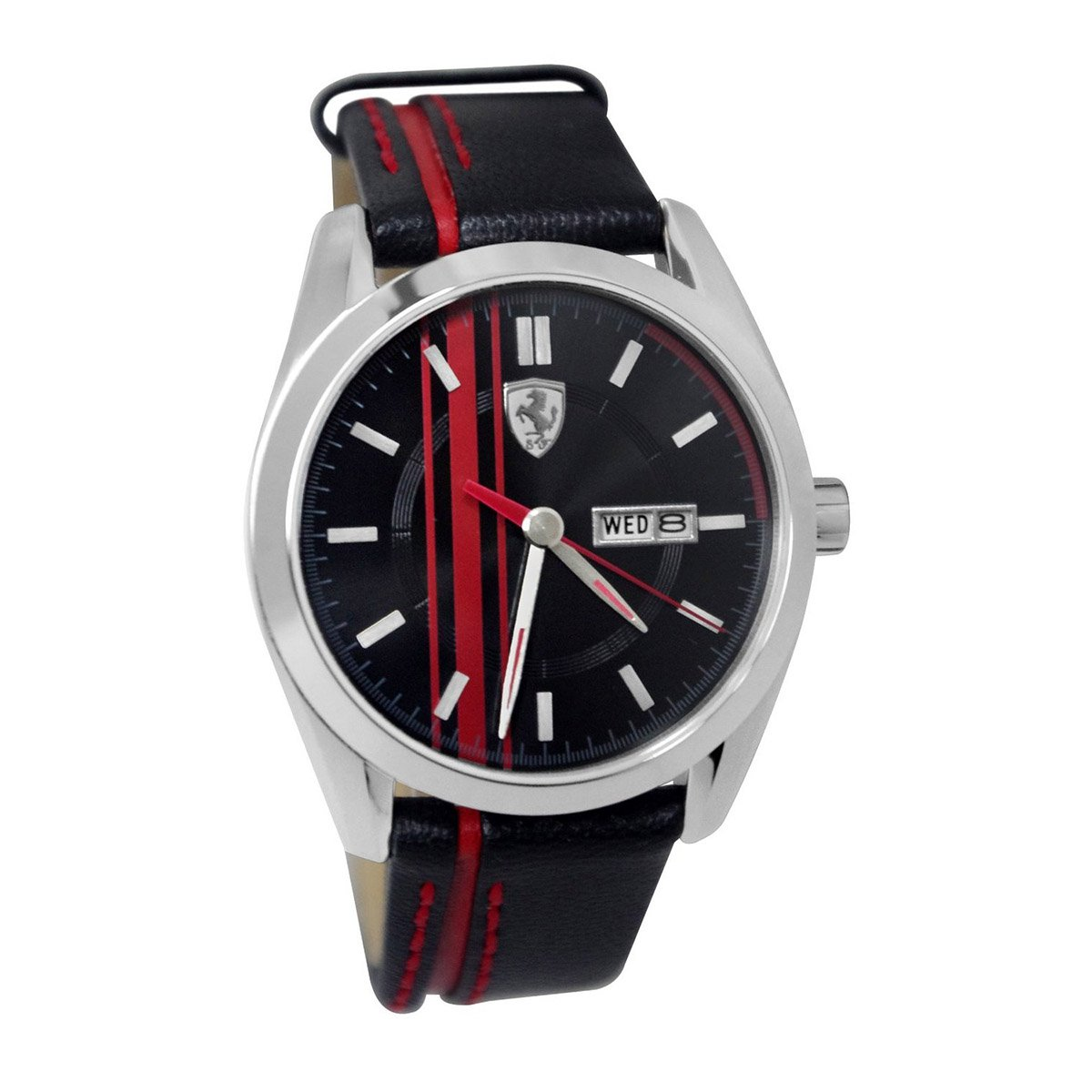 Ferrari 0870005 Scuderia Black Red Dial Leather Watch & Key Chain Gift Set NEW