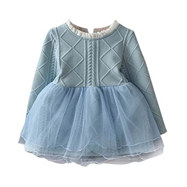 Pullovers Crochet Tutu Dress for Baby Girls, Kids Dresses Tops Clothes (7, Blue