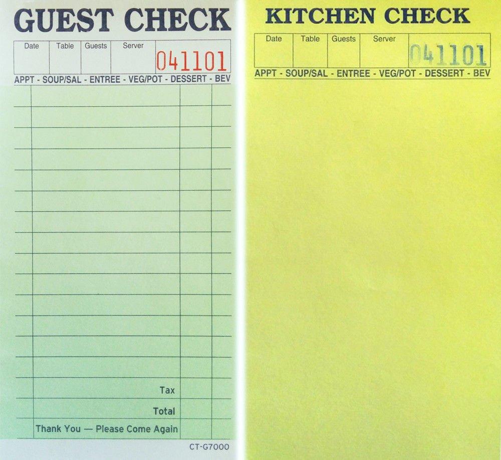 6.75'' H x 3.5'' W Carbonless Guest Check/Kitchen Check Restaurant Book - 100 Books - 5000 Receipts