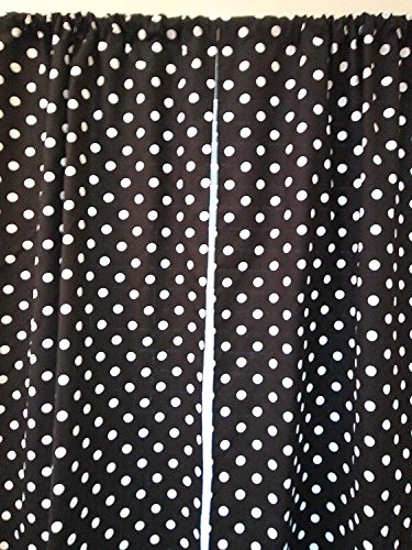 - Black and white polka dots curtain - 2 panels/Tiers - Window/Kitchen, Bath, Laundry, basement, office kids daycare schools, curtains 36