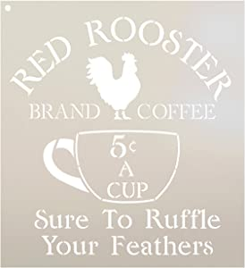 Coffee Sign Stencil by StudioR12 | Vintage Red Rooster Word Art | Ruffle Some Feathers | Reusable Mylar Template | Craft & Paint Wood Signs | DIY Home Decor | Select Size (10.5