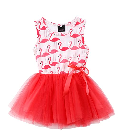 1d5cabe35a Toddler Baby Girl Animal Flamingo Sleeveless Tutu Tulle Dresses Sundress  Outfits (Red