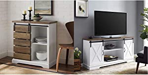 """Walker Edison Furniture Company Modern Farmhouse Buffet Sideboard Kitchen Dining Storage Cabinet Living Room, Reclaimed Barnwood Brown & TV Stand 58""""; White/Rustic Oak, White/Reclaimed Barnwood"""