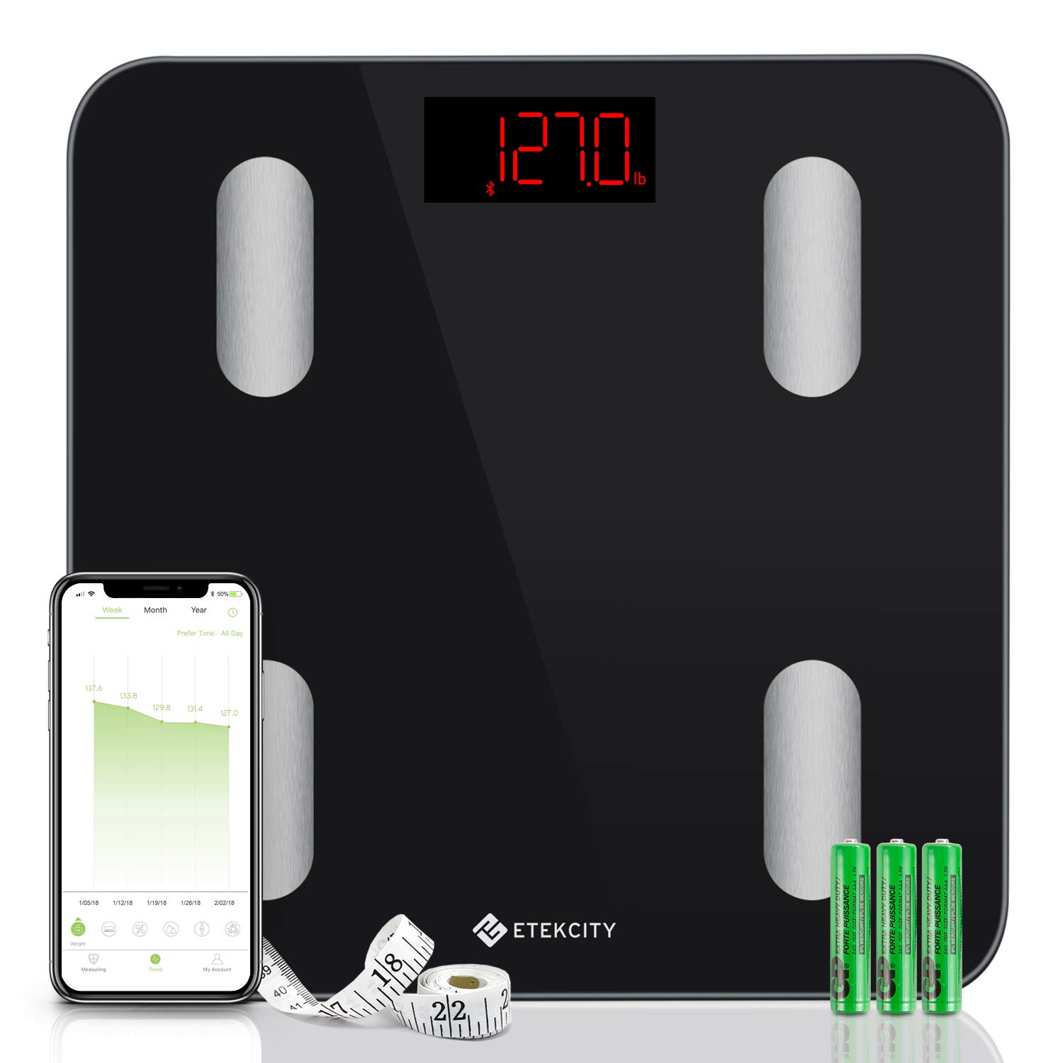 Etekcity Scale, Smart Body Fat Scale, Bathroom Bluetooth Digital Weight Scale Tracks 13 Key Compositions Analyzer, 6mm-Thick Glass, Sync with Fitbit, Apple Health and Google Fit, 400 lbs by Etekcity
