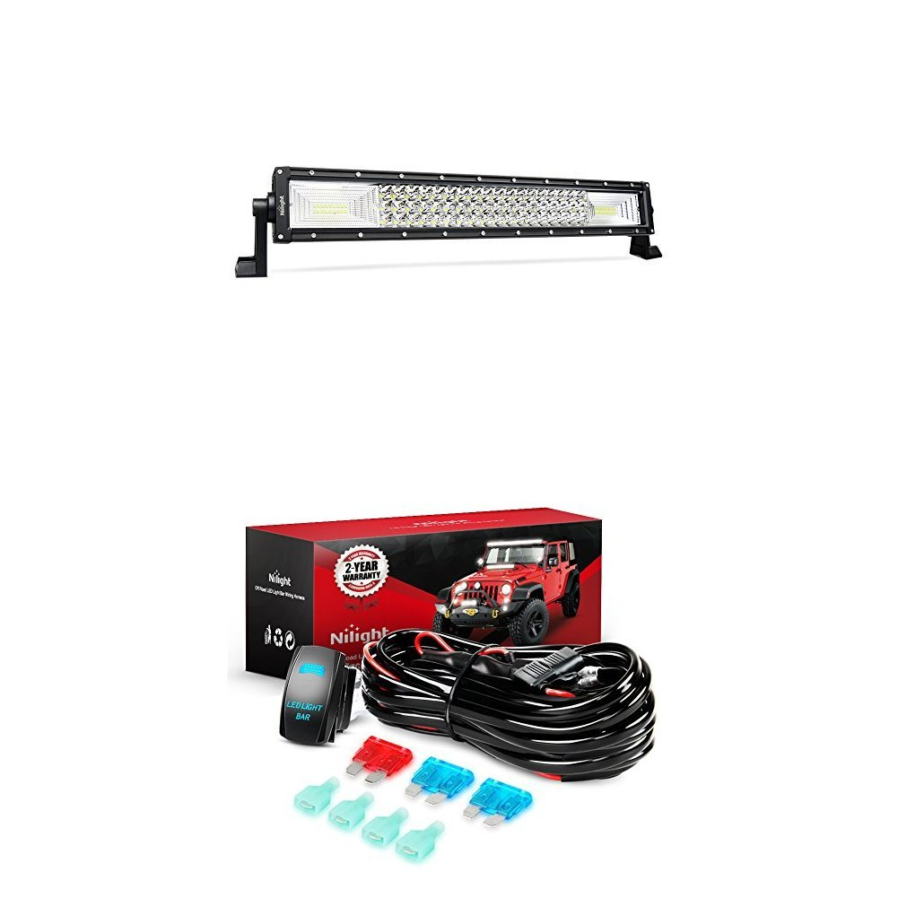 Amazon.com: Nilight LED Light Bar 22Inch 270W Triple Row 27000LM Flood Spot  Combo Led Off Road Lights With 12V 5Pin Rocker Switch 16AWG Wiring Harness  Kit-2 ...