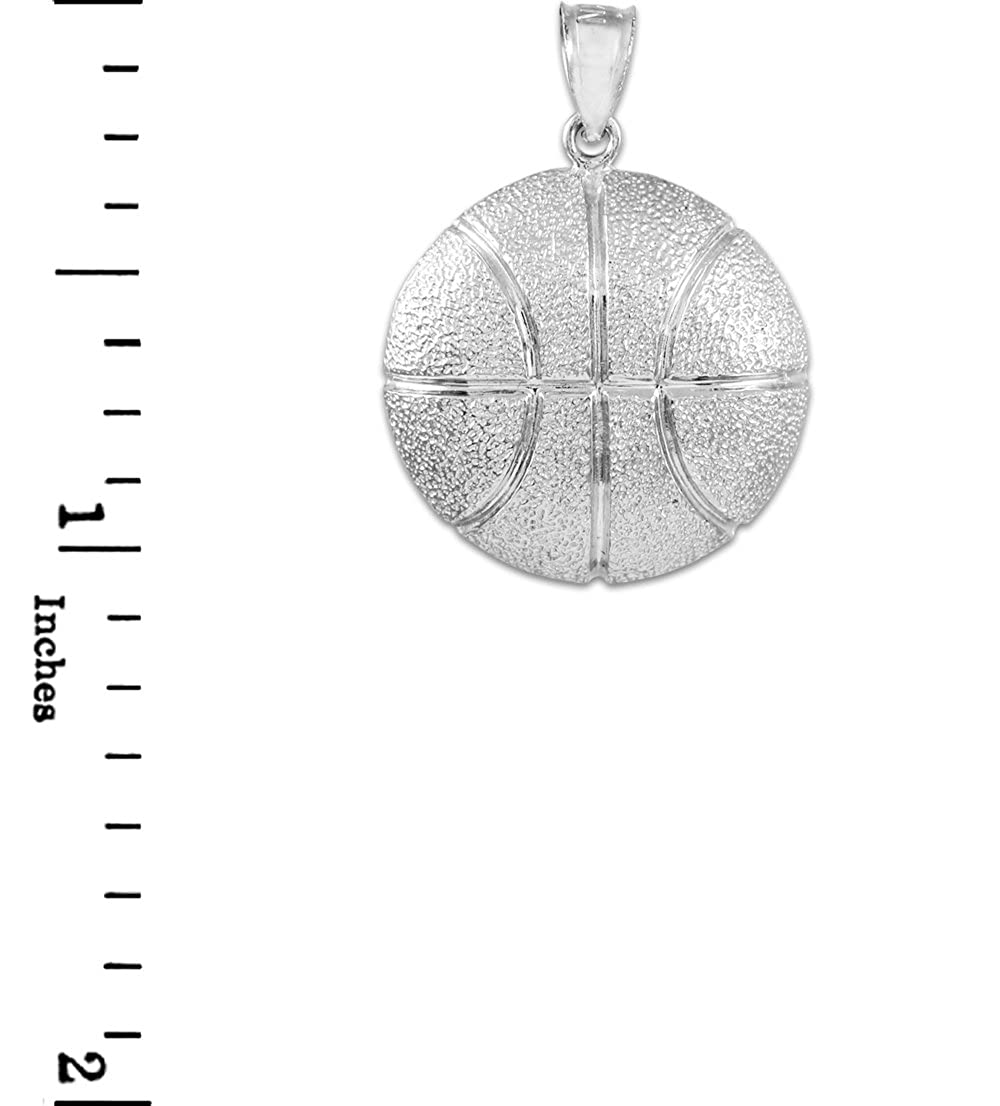 Sports Charms Solid 925 Sterling Silver Hammered Basketball Pendant Necklace