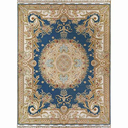 YILONG CARPET 8.5'x11.5′ Handmade Turkish Royal Wool and Silk Rug Hand Woven Carpet Living Room Blue