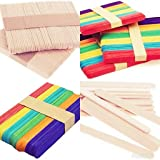 E Shopping Natural Wooden Premium Quality Ice Cream Popsicle Sticks for School Projects Assorted Colors Pack of 200