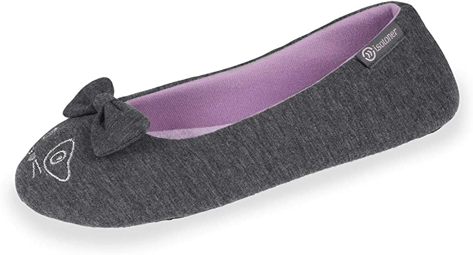 Isotoner Chaussons Ballerines Femme Broderie Chat Extra légers