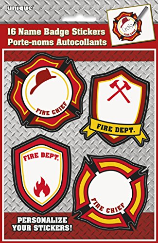 Fire Truck Birthday Name Stickers