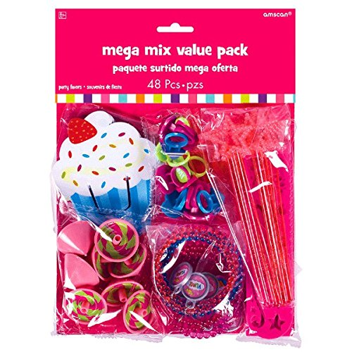 amscan Girls Candy Land Birthday Party Assorted Sweet Shop Favors Mega Mix Value Pack (48 Piece), Multicolor, One Size