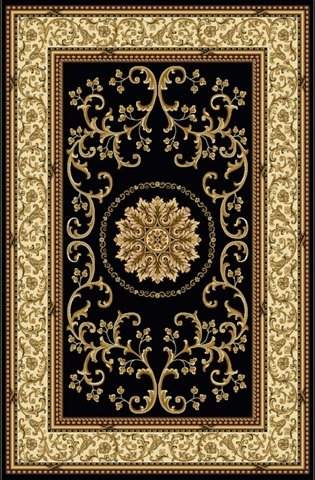 Radici 1419-1324-BLACK Noble Rectangular Black Traditional Italy Area Rug, 2 ft. 2 in. W x 8 ft. - Radici Rug Black Noble