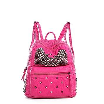 262e2f2f201e Amazon.com  Ladies Women PU Leather Backpack Rivet Studded Cute Satchel  School Bags (Pink S)  YUMI INC