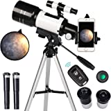 ToyerBee Telescope for Kids& Beginners, 70mm Aperture 300mm Astronomical Refractor Telescope, Tripod& Finder Scope- Portable