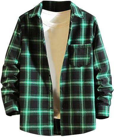 Tefamore Camisa Cuadros Hombre Invierno Camisa Reversible De ...