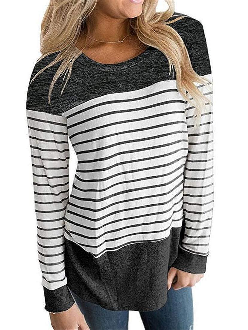 Nanquan Women Stylish Stripe Crew Neck Long Sleeve Patchwork Tops Blouse T-Shirt