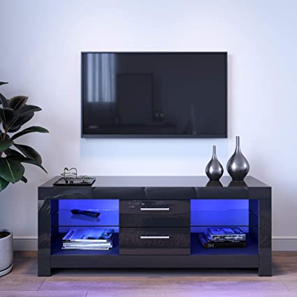 Elegant 1300mm Stylish High Gloss Tv Stand Cabinet Units With Ambient Light For 22 52 Flat Screen 4k Tvs Led Lights Black Tv Cabinet With Shelves And Drawers For Bedroom Living Room Amazon Co Uk Kitchen