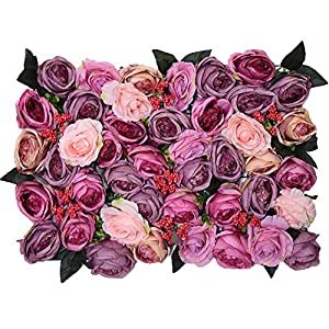 YD Background Wall - Artificial Rose Flower Wall Panel Wedding Party Flower Decoration Silk Flower Fake Flower Interior Layout (4 Styles Choice) /& (Color : A) 112