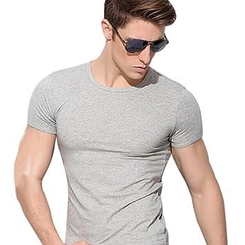 TININNA Herren Basic T-Shirt mit kurzen Ärmeln,Solid Color Short Sleeves  Crew Neck