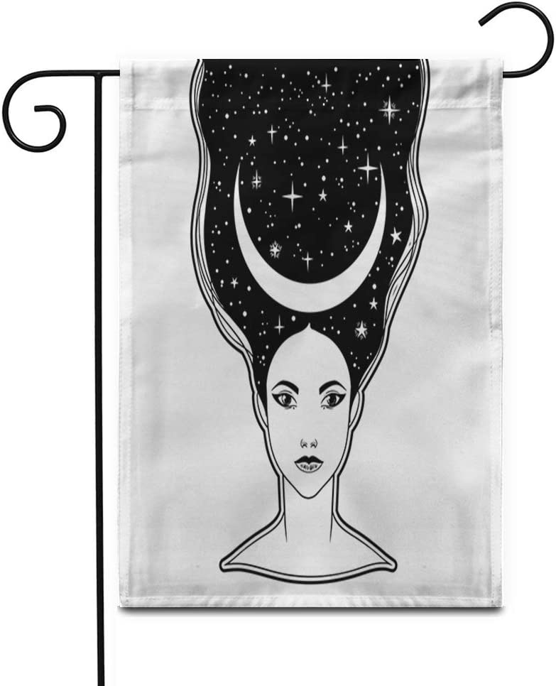 "Awowee 28""x40"" Garden Flag The Beautiful Girl Moon Crown Female Portrait Night Goddess Outdoor Home Decor Double Sided Yard Flags Banner for Patio Lawn"