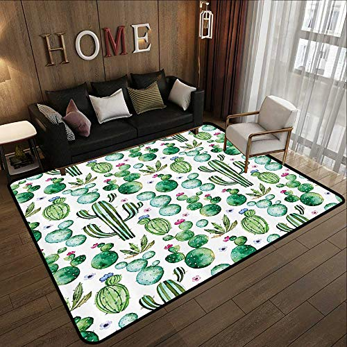 Abstract Design Area Rug,Green Decor,Mexican Texas Cactus Plants Spikes Cartoon Like Art Print,White Light Pink and Lime Green 47