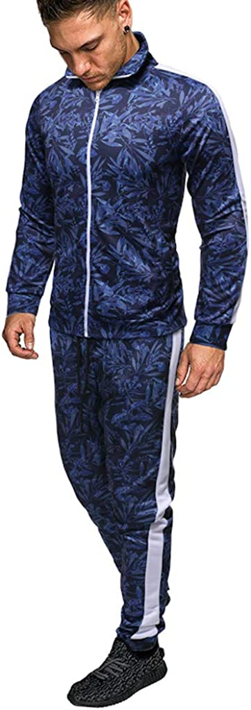 SFE Mens Jogger Casual Set 2 Pieces Leaf Print Slim Fit Zip Off Blouse/&Sweatpants with Elastic Waistband for Jogging