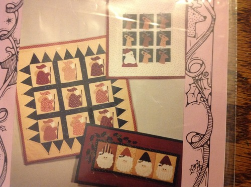 Santas a Little Brown House Wall Quilt Applique Quilts Pattern in Folk Christmas Theme