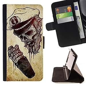 - Queen Pattern FOR Samsung Galaxy A3 /La identificaci????n del cr????dito ranuras para tarjetas tir????n de la caja Cartera de cuero cubie - captain skull seaman death drunk sail