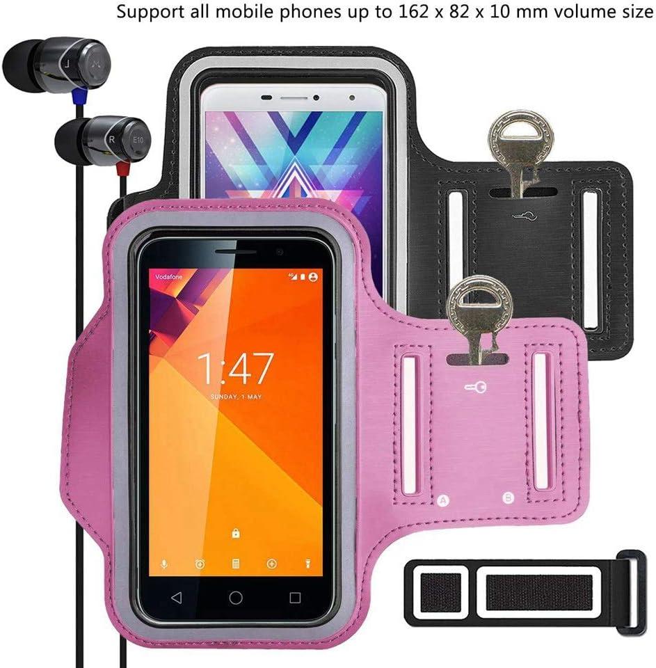 pinlu [2 Pack] Pulsera de Fitness a Prueba de Sudor para Xiaomi Mi4, Xiaomi Mi 4s, Xiaomi Mi5, Xiaomi Mi 5S, Xiaomi Mi6, Llave de la Puerta, Pulsera DE 5.5 Pulgadas -(Negro+Rosado)