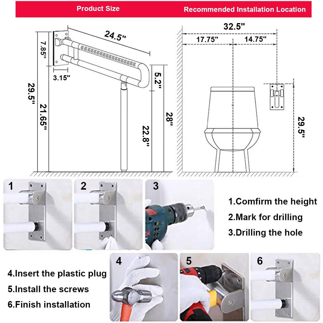 Foldable Toilet Grab Bar 304 Stainless Steel Medical Safety Shower Handrails Anti Slip Bathroom Seat Support Bar Flip-Up Bathtub Grab Arm Bar Hand Grips for Disabled Elderly Handicap Pregnant(Yellow)