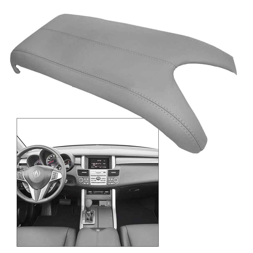 QKPARTS Fits 07-12 Acura RDX Center Console Lid Armrest Cover Real Leather Grey