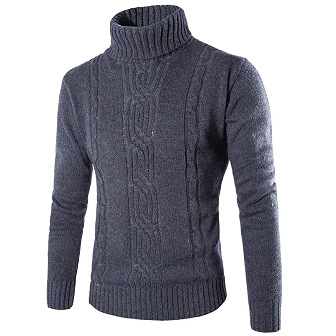 Amazon.com: Evaliana Hombres Slim Fit Turtleneck Knit ...