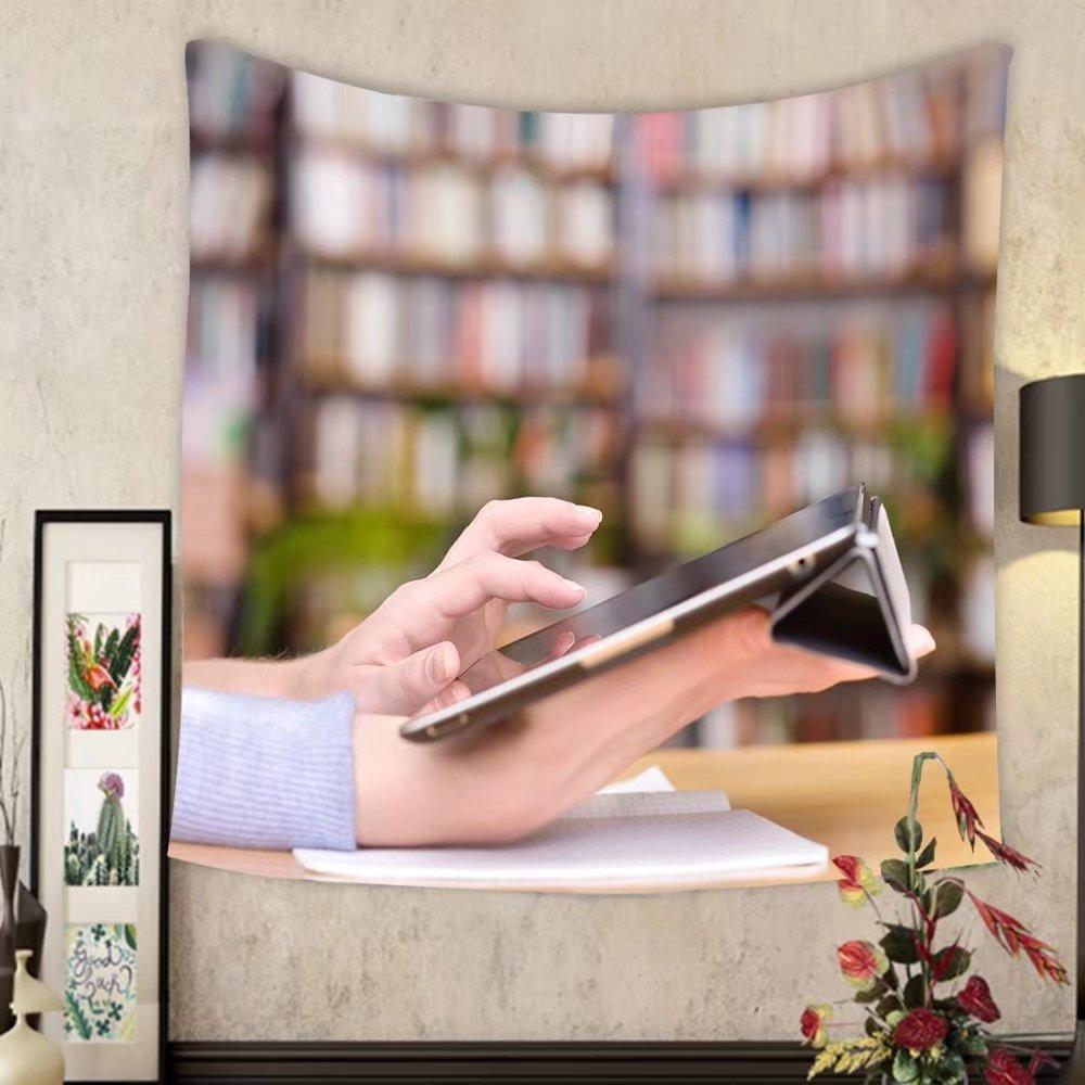 Lee S. Jones Custom tapestry hands typing on tablet in college class