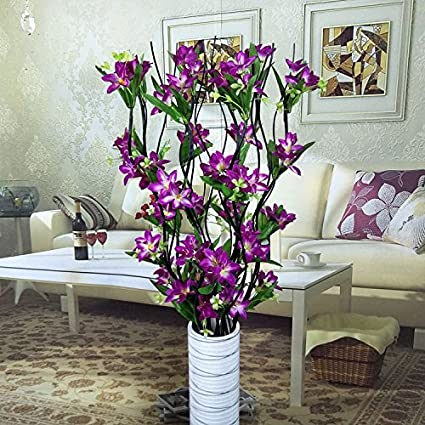 DEFRWA Arreglos florales Flores secas Sala de estar Emulación de flores de piso Flor falsa Arreglo