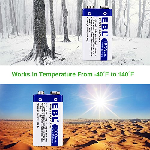 EBL Advanced 9V 1200mAh Lithium Batteries with Battery Storage Container, 4 Packs Photo #7