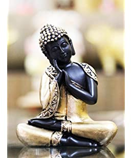 RJKART Handcrafted Antique Black and Golden Thai Buddha Showpiece for Home Décor