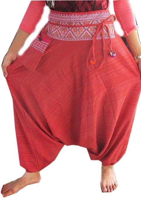 Ayutthaya Harem Pantalones de algodón a Rayas Hippy Hippie Boho Genie Ali Baba Aladdin: Amazon.es: Jardín